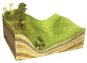 В долинах грунтовую воду следует искать под крутым склоном