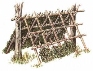 Строительство двускатного шалаша
