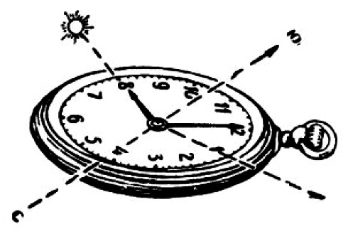 Определение на местности направления север-юг без компаса, по солнцу, солнцу и часам, луне, луне и часам, и звездам.