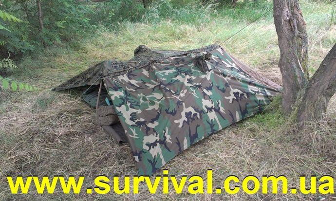 Варианты и способы постройки простейших укрытий, навесов из тента, плащ-палатки, брезента, полиэтилена.
