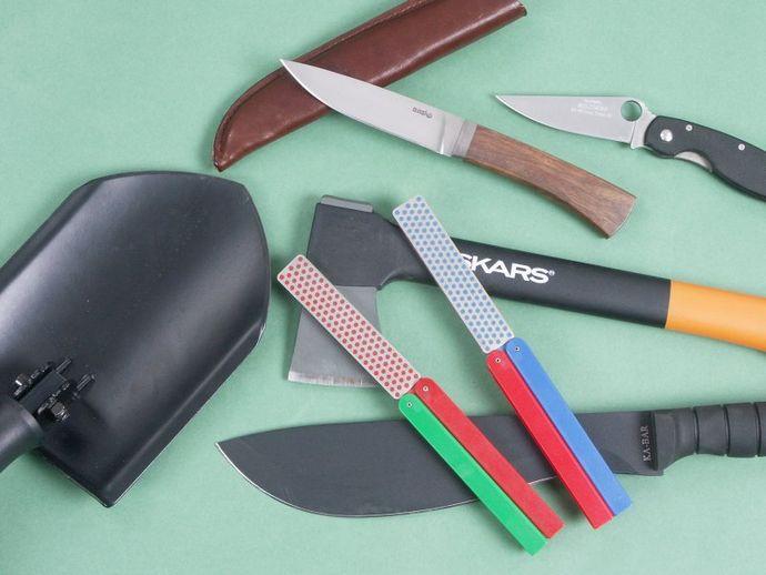 Складные двухсторонние алмазные точилки DMT и Lansky Sharpeners, для правки и заточка ножей, топоров, лопат и пил в полевых условиях.