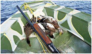 Охота с подъезда  на лодке
