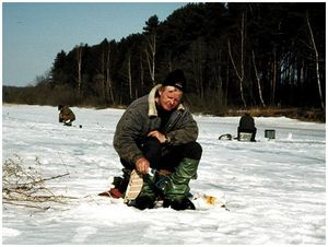 Ловля леща  морозной  зимой