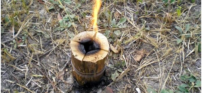 Изготовление индейской свечи, деревянного примуса, финской свечки, разжигаем и регулируем пламя индейской свечи, горение деревянного примуса, описание, обзор и тест.