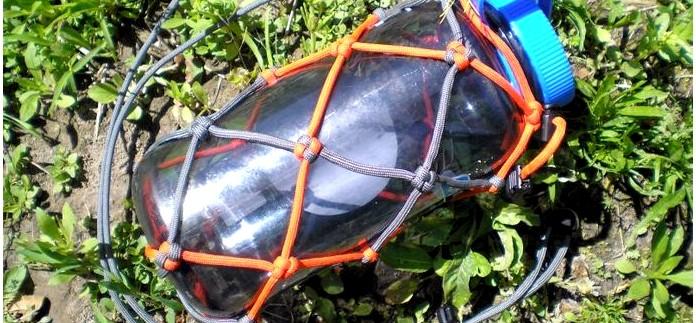 Чехол или авоська из паракорда для бутылки Nalgene и других пластиковых и стеклянных бутылок, обзор, отзыв.