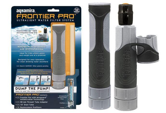 Средства для обеззараживания, очистки и фильтрации воды в носимом наборе или комплекте выживания.