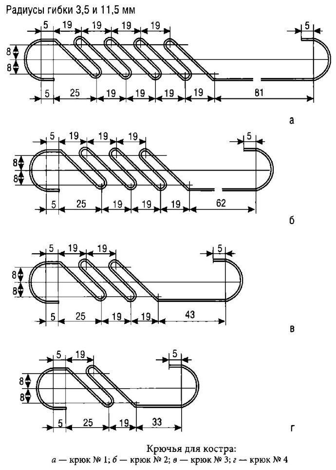 Комплект крючьев для подвешивания котелка над костром, тросик и крюки, размеры и порядок изготовления.