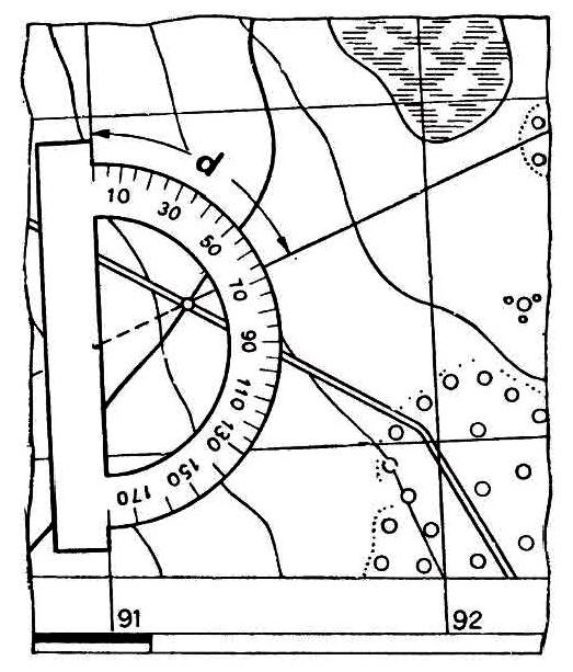 Подготовка данных для движения по азимутам, выбор ориентиров и уточнение маршрутов, измерение дирекционного угла на карте и перевод его в магнитный азимут.