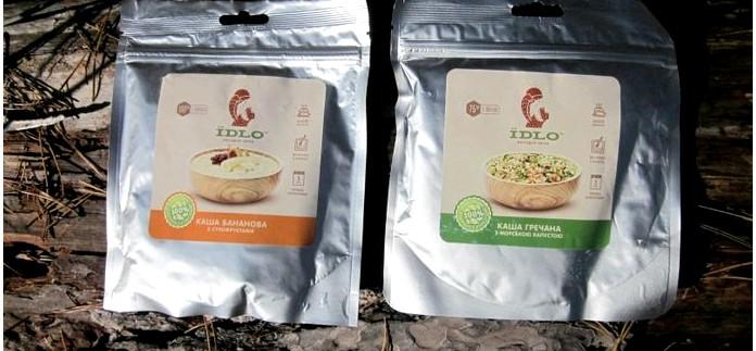 Еда быстрого приготовления IDLO из сухих продуктов, каша банановая с сухофруктами и каша гречневая с морской капустой, обзор.