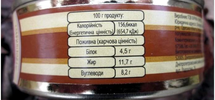 Закуска селянская от ООО ЧПК и паштет из печенки от ООО Сытный ряд, состав, энергетическая ценность, вкусовые качества.