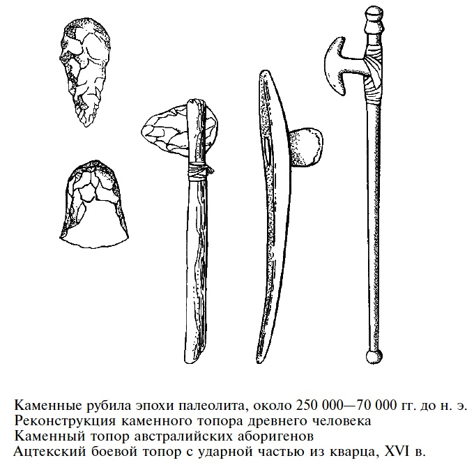 Каменные топоры, краткая история развития и совершенствования, их использование в качестве оружия и орудий труда для хозяйственных нужд.