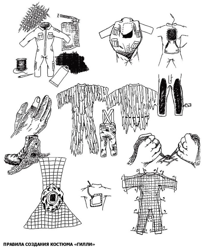 Снайперский костюм Гилли, описание, самостоятельное изготовление костюма Гилли, некоторые ограничения такого снайперского костюма.