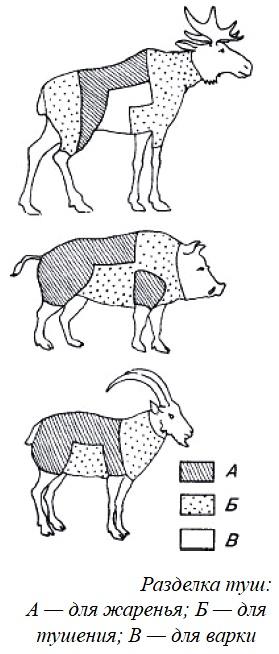 Особенности разделки и кулинарной обработки мяса крупных и средних копытных, диких свиней, бурых медведей, зайца, дикой птицы и субпродуктов.