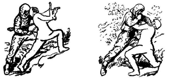 Ножевой бой во время Второй Мировой войны, приемы рукопашного боя ножом, ношение ножа, нападение с ножом, действия ножом при столкновении вплотную.