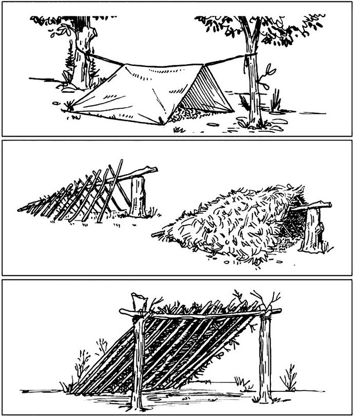 Сооружение укрытия в горных районах, палатка из плаща-накидки, простые односкатные и двухскатные навесы.