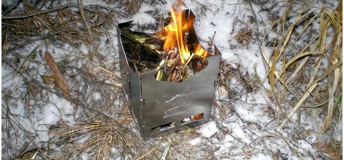 Складная походная компактная дровяная печь Экспедиция как альтернатива газовой горелке, обзор, применение в полевых условиях.