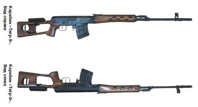 9-мм охотничий карабин Тигр-9, назначение, модификации, характеристики, устройство, особенности конструкции, обзор.