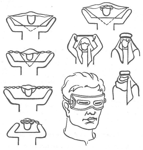 РИС. 33. Бурнус и самодельные щелевые очки