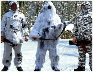 Снежный или зимний камуфляж охотника