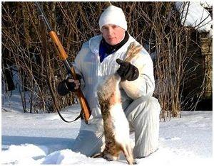 Стрельба русаков в середине зимы