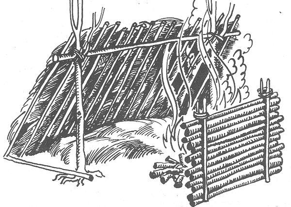 РИС. 29. Устройство навеса и отражателя у костра