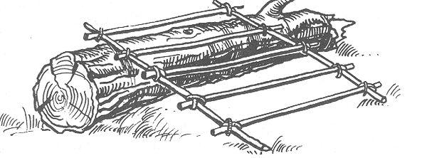 РИС. 30. Использование бревна для сооружения укрытия