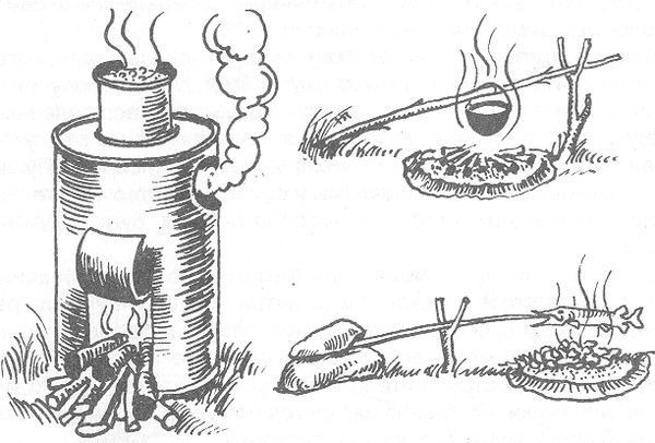 РИС. 24. Переносная самодельная печь и простые приспособления для приготовления пищи